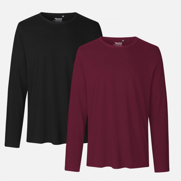 Doppelpack Mens Long Sleeve Shirt - Schwarz / Bordeaux