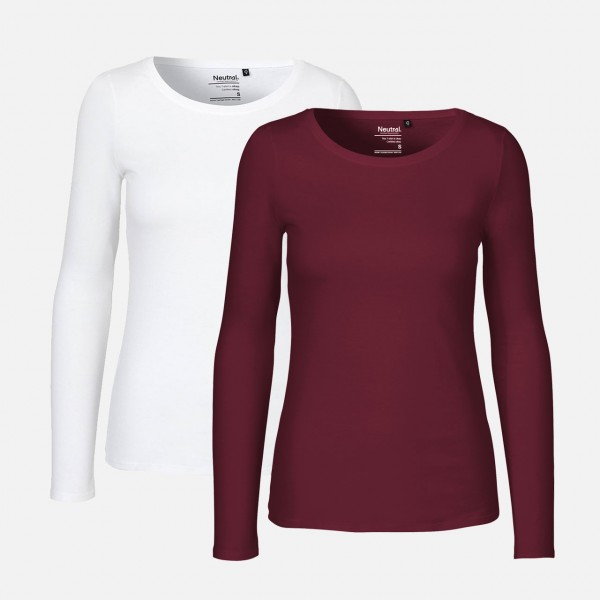 Doppelpack Ladies Long Sleeve Shirt - Bordeaux / Weiss