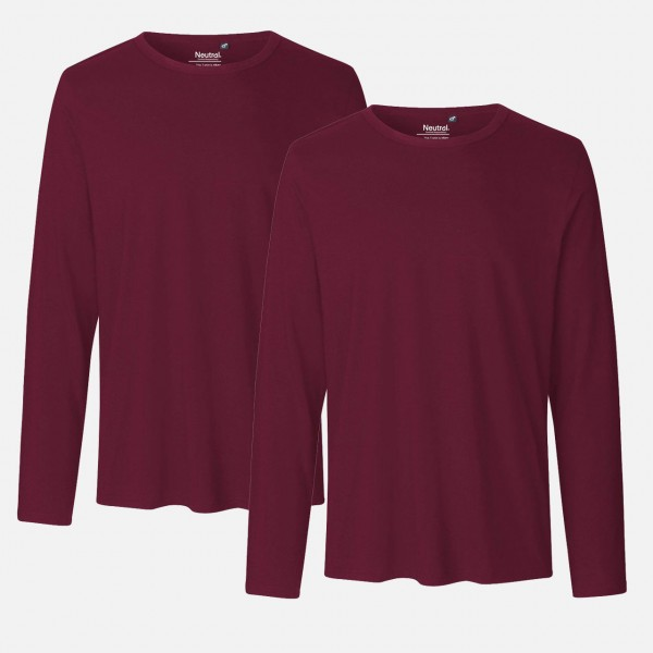 Doppelpack Mens Long Sleeve Shirt - Bio Baumwolle - Bordeaux