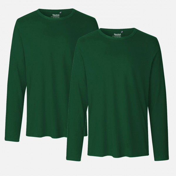 Doppelpack Mens Long Sleeve Shirt - Bio Baumwolle - Bottle Green