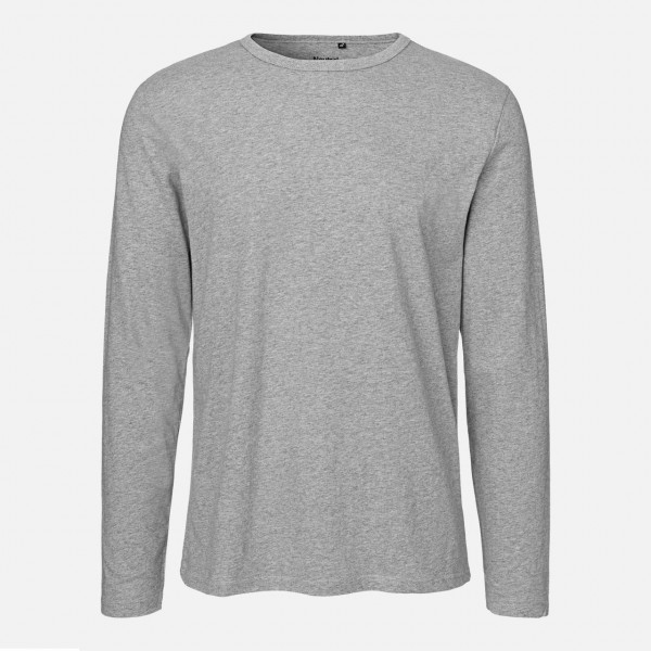 Mens Long Sleeve Shirt - Bio Baumwolle - Sport Grey