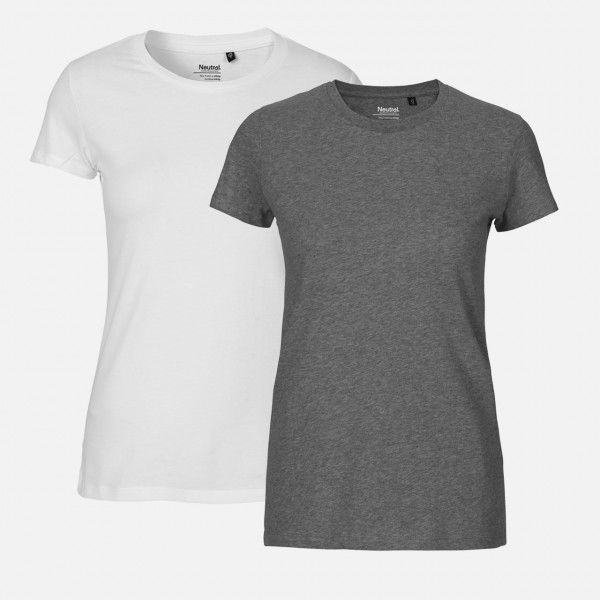 Doppelpack Neutral® Ladies Fit T-Shirt - Weiss / Dark Heather