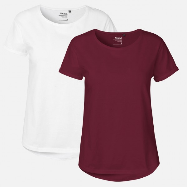 Doppelpack Ladies Roll Up Sleeve T-Shirt - Weiß / Bordeaux