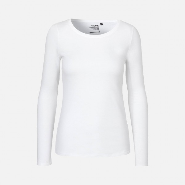 Ladies Long Sleeve Shirt - Bio Baumwolle Weiss