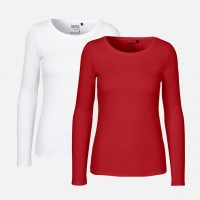 Doppelpack Ladies Long Sleeve Shirt - Weiss / Rot