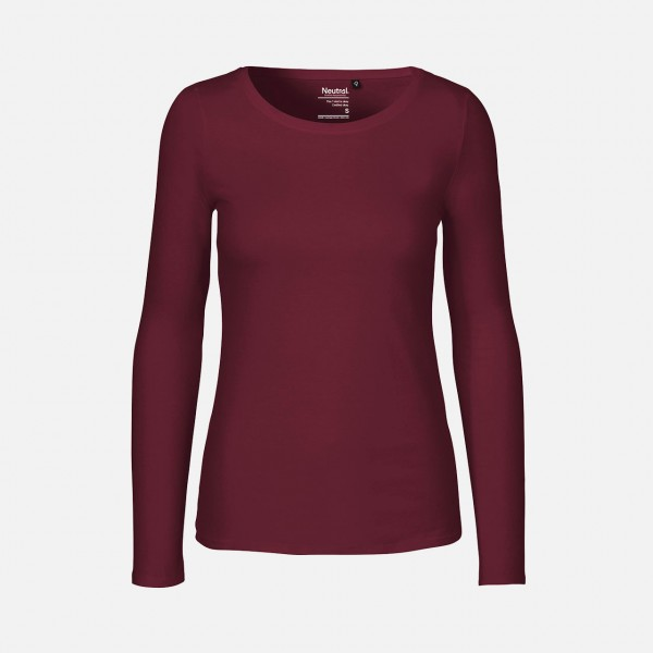 Ladies Long Sleeve Shirt - Bio Baumwolle Bordeaux