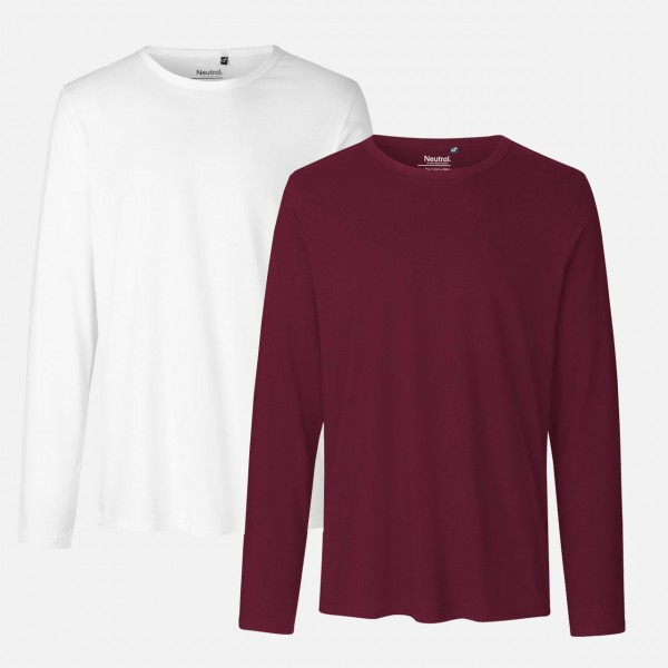 Doppelpack Mens Long Sleeve Shirt - Bio Baumwolle - Weiss / Bordeaux